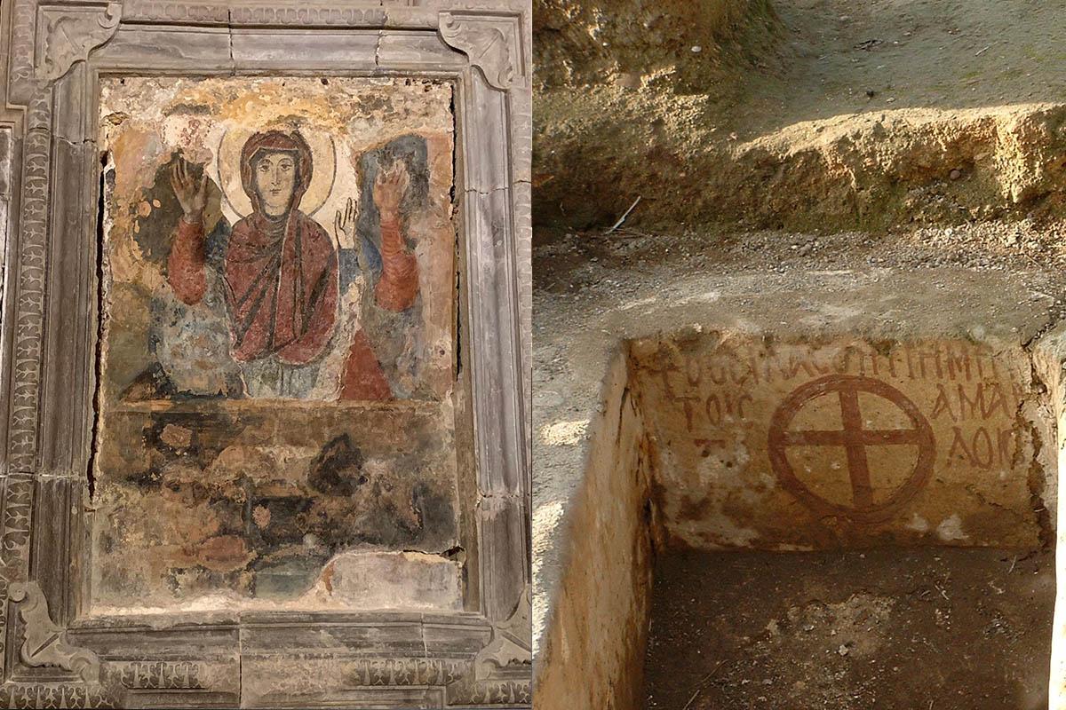 Chiesa Madonna Della Cava, Madonna Orante, 13.sec – Foto N. Joubert – Plateia, Tomba Bizantine – Foto E. Rossi
