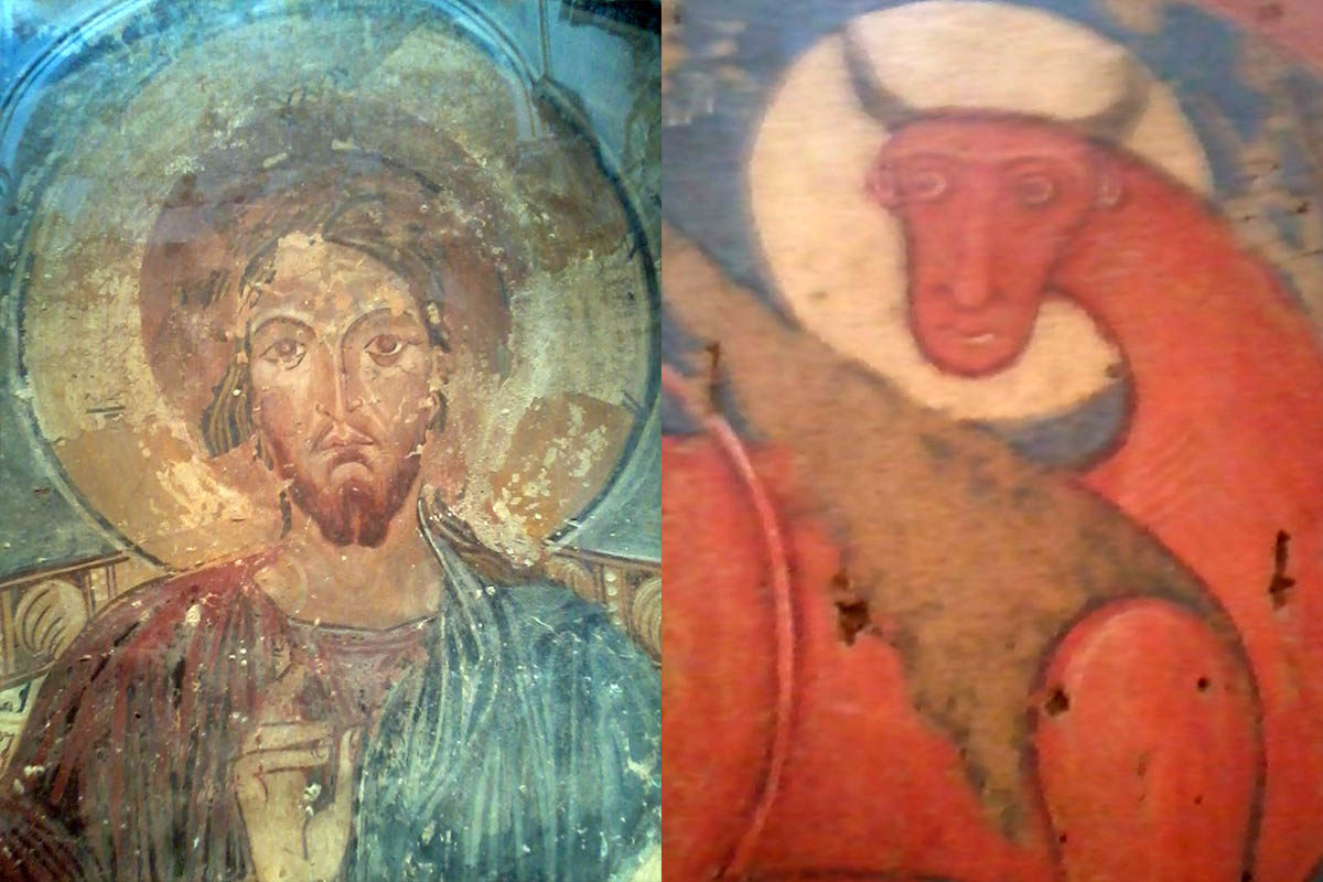 Chiesa Madre, Cristo Pantocratore, Affresco XII. Sec – Croce Ligneo, Part., XIII.sec, Foto ReHU