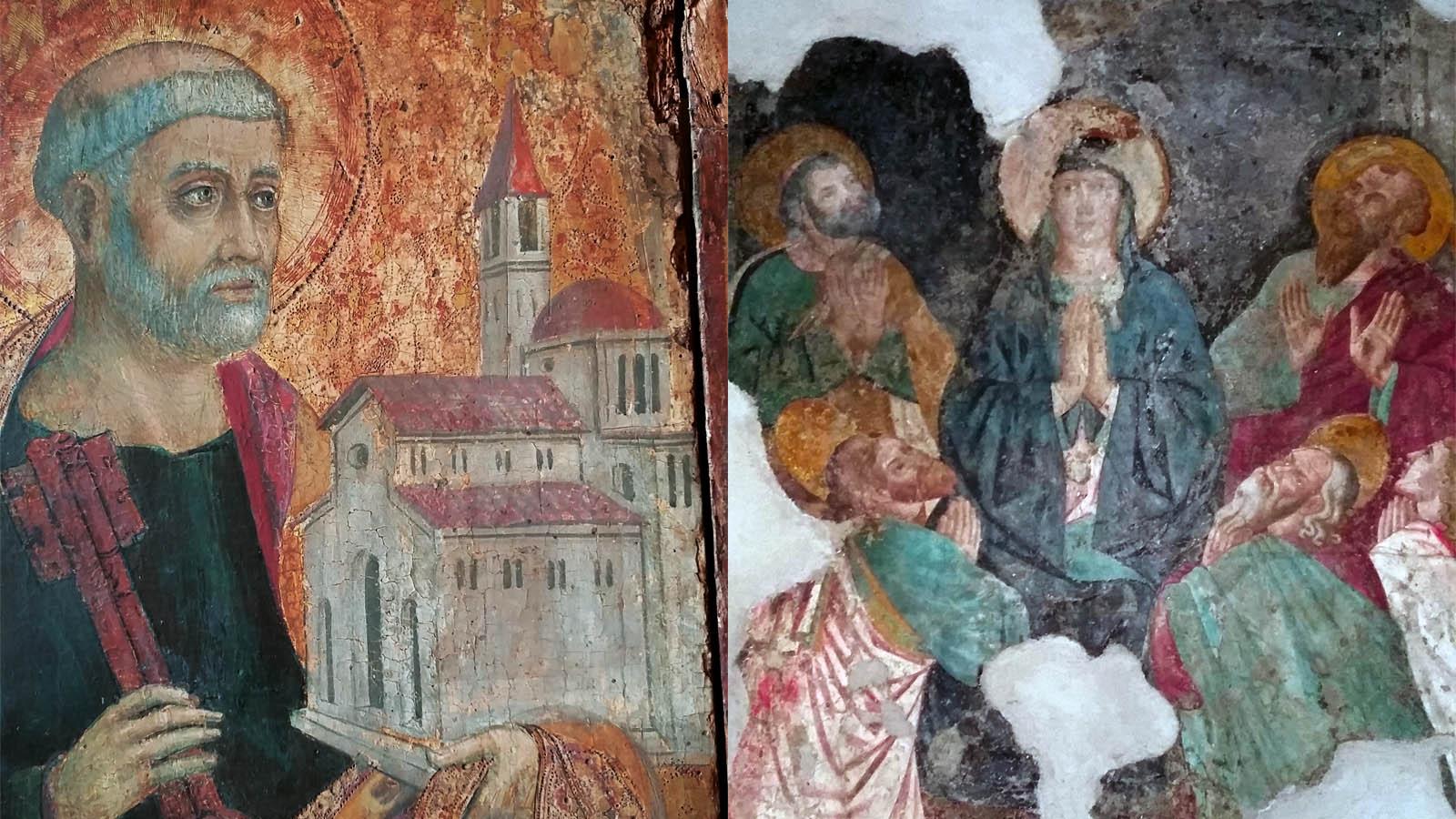 Maestro trittico di Alcamo, part. San Pietro e Chiesa Madre, Pentecoste, affresco 14.sec foto ReHu